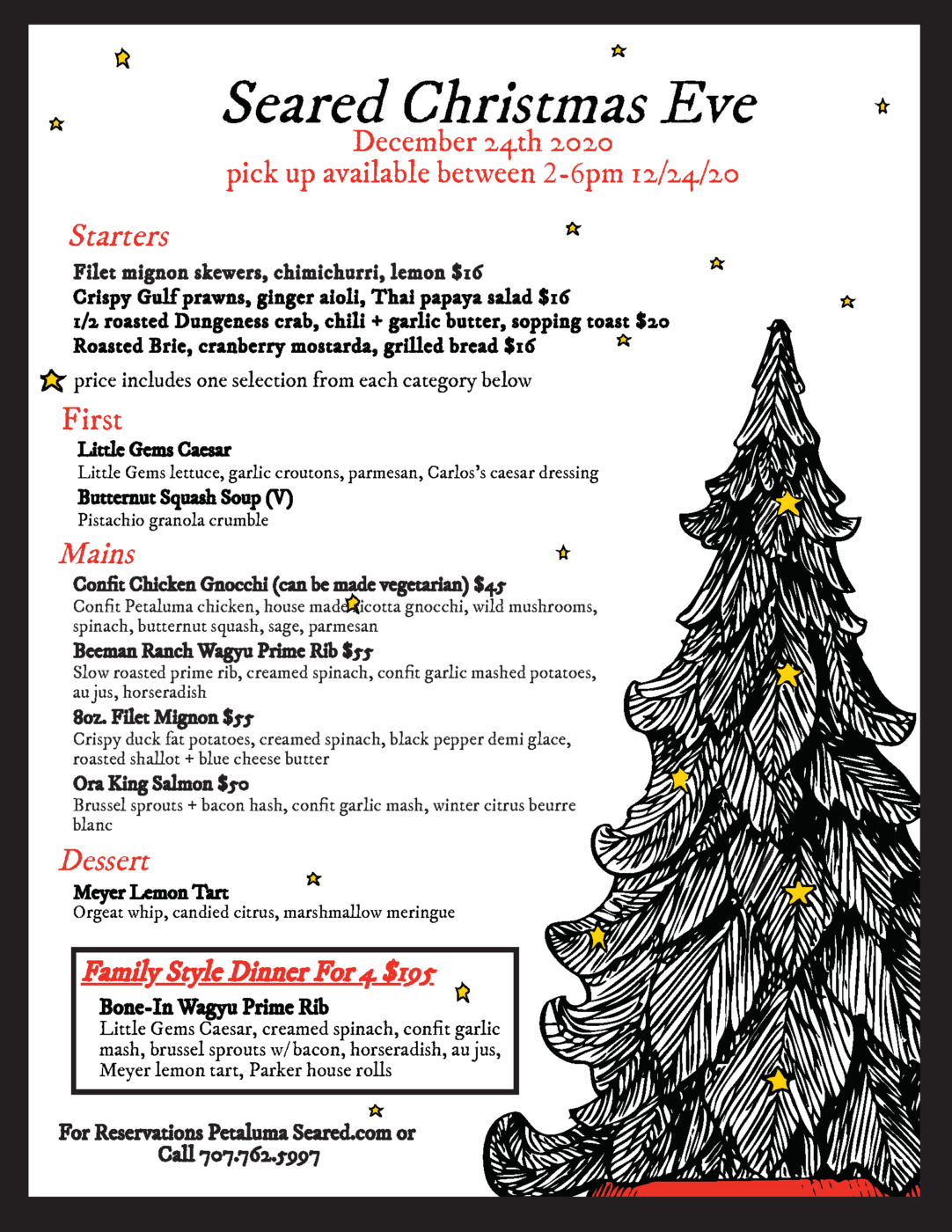 Christmas Eve Dinner To-Go menu from seared