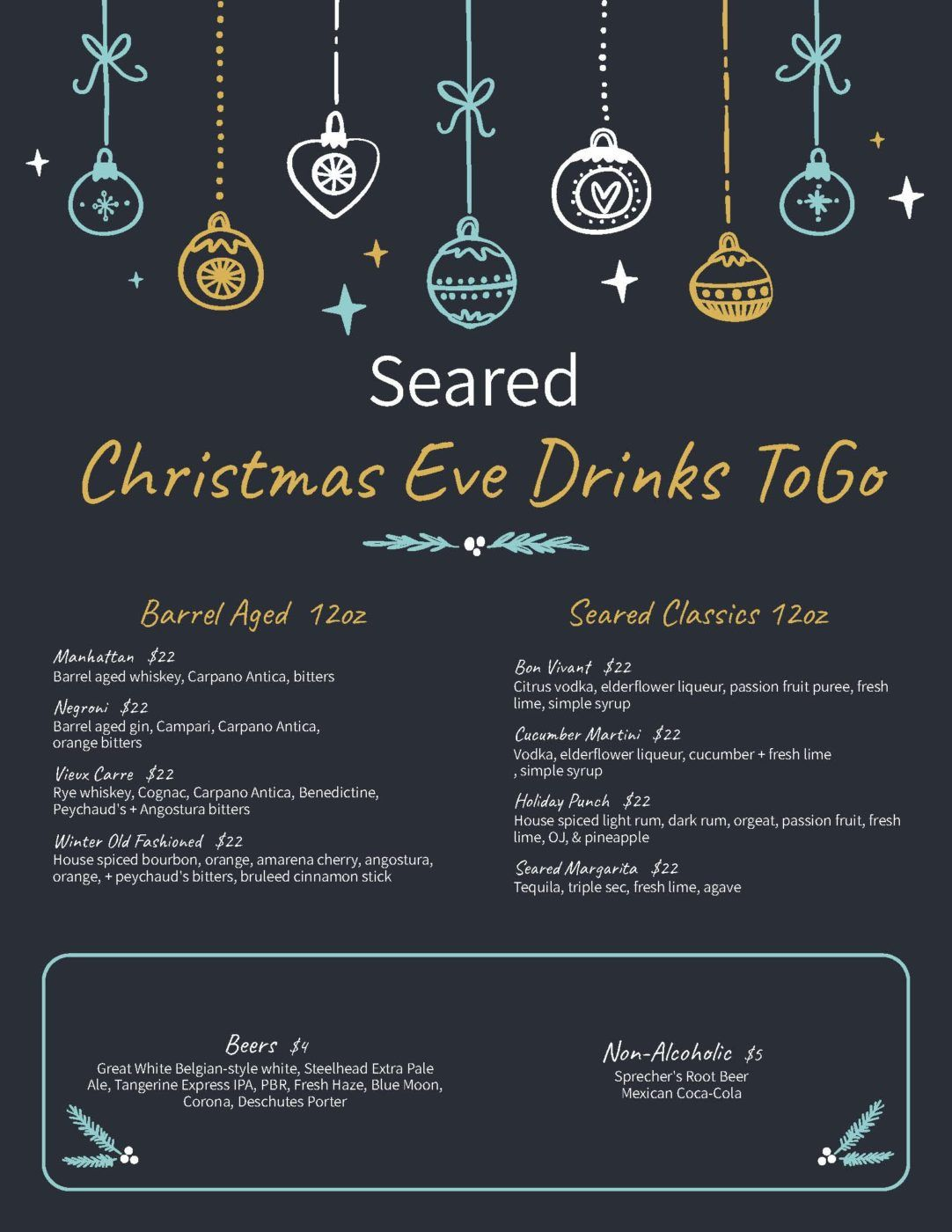 Christmas Eve Drinks and Cocktails to-go from Seared