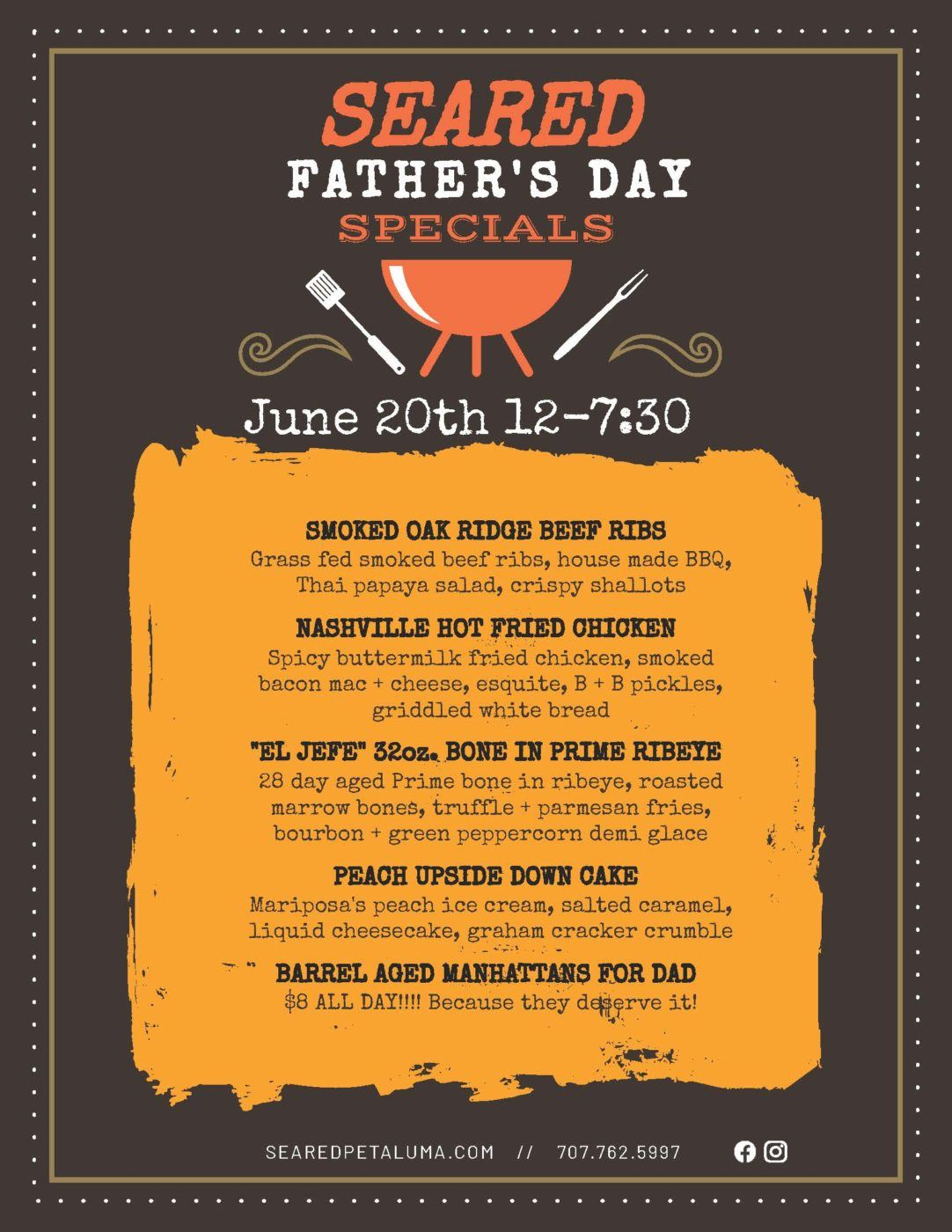 Father's Day Specials at Seared June 20th, 2021